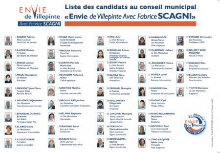 Liste des candidats au conseil municipal « Envie de Villepinte A
